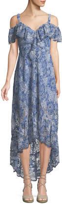 BCBGMAXAZRIA Cold-Shoulder Floral Lace Dress