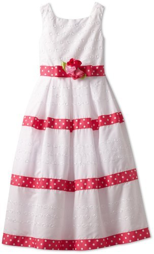 Sweet Heart Rose Girls 7-16 Polka Dot Trim Eyelet Dress