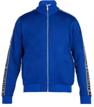 Givenchy Logo Taped Jersey Track Jacket - Mens - Blue