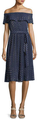 MICHAEL Michael Kors Off-the-Shoulder Rope Dot Dress