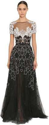 Long Embroidered Tulle Dress
