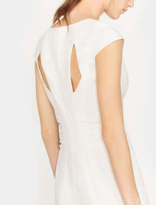Halston Cap Sleeve Ruched Crepe Gown