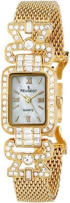 Peugeot Women's 7070G Crystal Bezel Gold-Tone Mesh Bracelet Watch