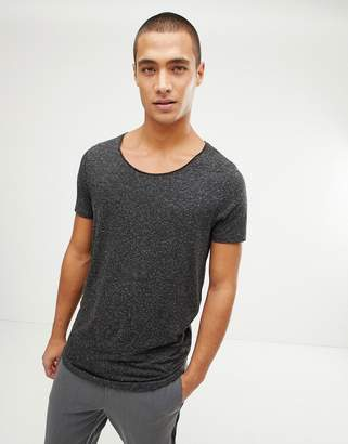 Asos DESIGN longline t-shirt with raw scoop neck and curve hem in linen mix in black
