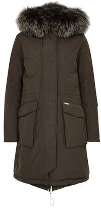 Woolrich Brown Fur-trimmed Shell Coat