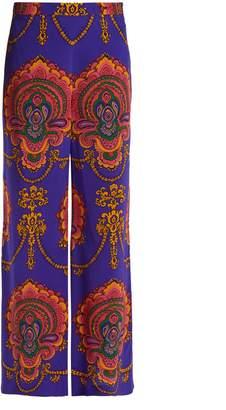 Gucci Treasure-print wide-leg silk trousers