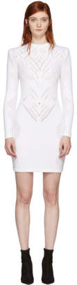 Balmain White Drop-Stitch Knit Dress