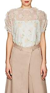 08sircus Women's Floral Sheer Organza Top - Ivory