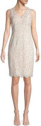 Vince Camuto Lace-Trimmed V-Neck Cotton Blend Sheath Dress