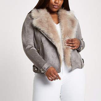 River Island Plus grey faux fur collar biker jacket