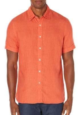 Perry Ellis Linen Chambray Woven Shirt
