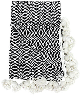 One Kings Lane Vintage Woven Moroccan Pom-Pom Blanket - Habibi Imports