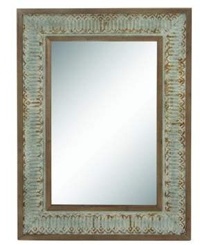 DecMode Decmode Eclectic 39 X 29 Inch Distressed Metal And Wood Rectangular Wall Mirror With Lattice Pattern Detail, Gray