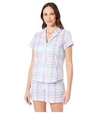 Lauren Ralph Lauren Short Sleeve Rolled Cuff Pointed Notch Collar Boxer Pajama Set