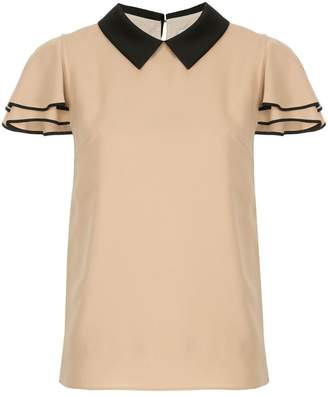 GUILD PRIME contrast-collar fitted blouse