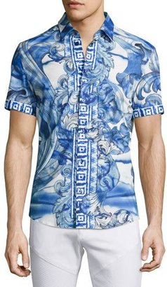 Versace Collection Watercolor Baroque Short-Sleeve Sport Shirt, Blue $475 thestylecure.com