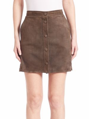 Helmut Lang Suede Button-Down Skirt $895 thestylecure.com