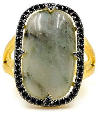 Freida Rothman 14K Yellow Gold Plated Sterling Silver Radiant-Cut Labradorite & Pave CZ Halo Ring - Size 6