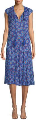 Kate Spade Tangier Floral Chiffon Midi Dress