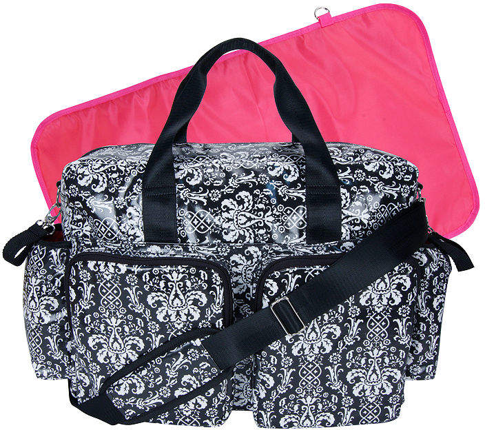 TREND LAB, LLC Trend Lab Deluxe Duffle Diaper Bag-Midnight Fleur Damask