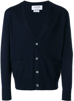 Thom Browne V-Neck Cardigan In Mercerized Merino