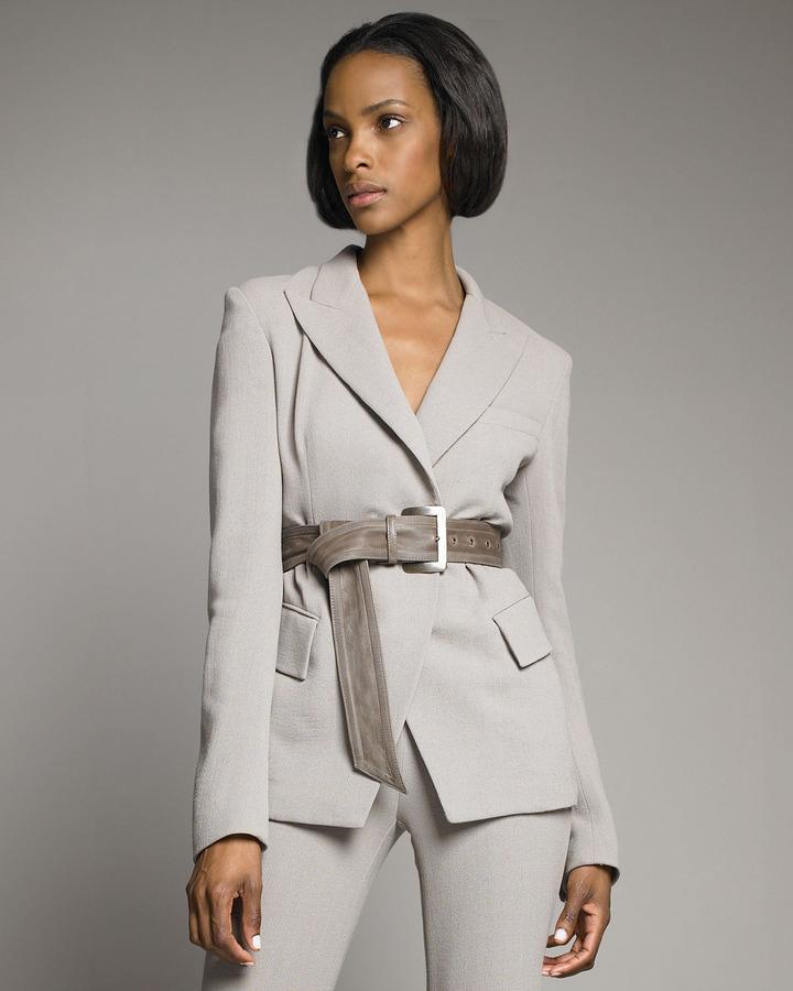 Donna Karan Leather-Belted Blazer