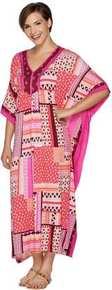 Ellen Tracy Jersey Knit V-Neck Long Caftan