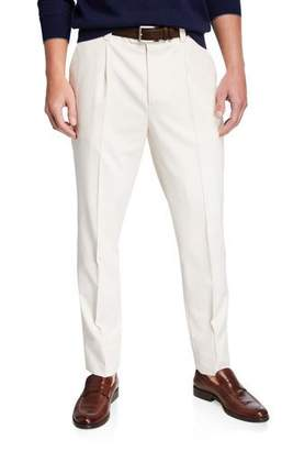 Brunello Cucinelli Men's Pleated Wool-Cotton Twill Leisure Fit Trousers