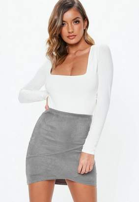 Missguided Gray Faux Suede Wrap Mini Skirt
