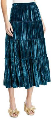 MICHAEL Michael Kors Velvet Tiered Midi Skirt