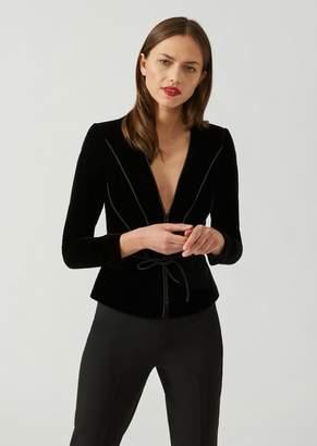 Emporio Armani Velvet Jacket With Satin Piping Pattern