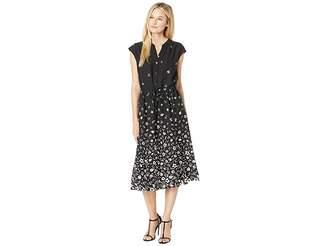 Anne Klein Printed CDC Drawstring Midi Dress