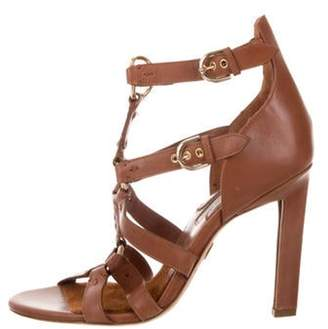 Brian Atwood Leather Ankle-Strap Sandals Cognac Leather Ankle-Strap Sandals