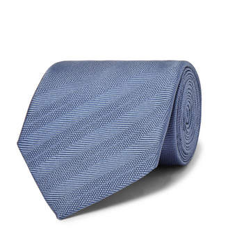 Dunhill 8cm Striped Mulberry Silk Tie - Men - Blue