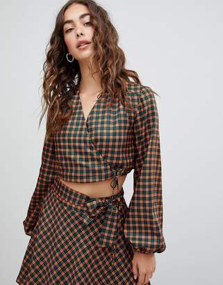 Glamorous wrap front top in check two-piece