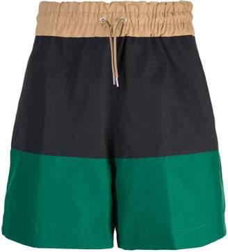 Sacai colour-block shorts