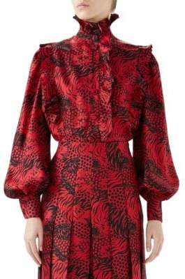 Gucci Silk Twill Ruffled Detail Blouse