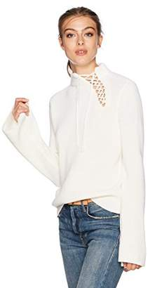 Ella Moss Women's Gracey Long Sleeve Lace Up Pullover