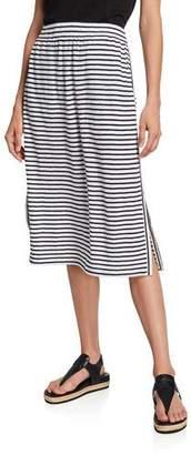 Eileen Fisher Plus Size Striped Organic Linen Jersey Drawstring Skirt