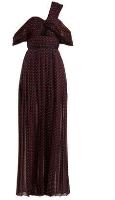 Self-Portrait Polka-dot print one-shoulder maxi dress