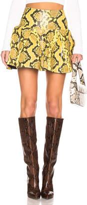 Marques Almeida Marques ' Almeida Leather Pleated Mini Skirt in Yellow | FWRD