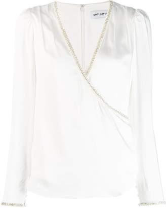 Self-Portrait embellished V-neck blouse