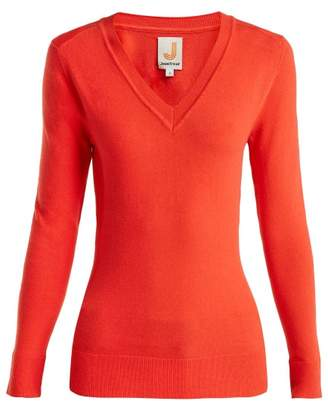 Joostricot - V Neck Cotton Blend Sweater - Womens - Red