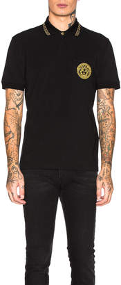 Versace Polo in Black & Gold | FWRD
