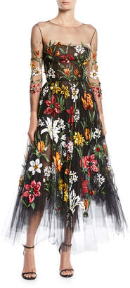Oscar de la Renta Long-Sleeve Fit-and-Flare Floral Harvest Embroidered Tulle Evening Gown
