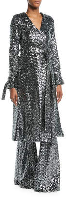 Alexis Niecy Sequin Wrap Long-Sleeve Cocktail Kimono Dress