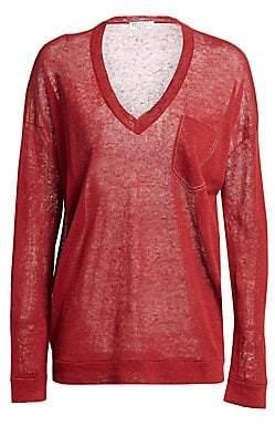 Brunello Cucinelli Women's Linen-Blend V-Neck Pullover