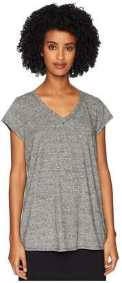 Eileen Fisher Hemp Organic Cotton Mini Stripe V-Neck Cap Sleeve Tee Women's T Shirt