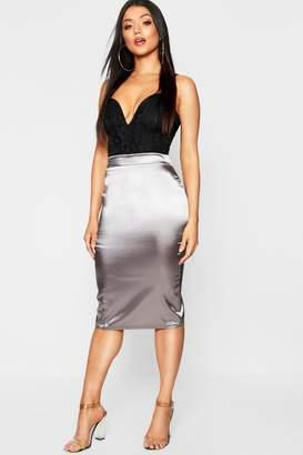 boohoo Satin Midi Skirt