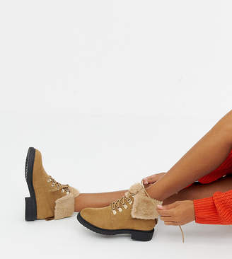 Miss Selfridge lace up ankle boots with faux fur lining in tan